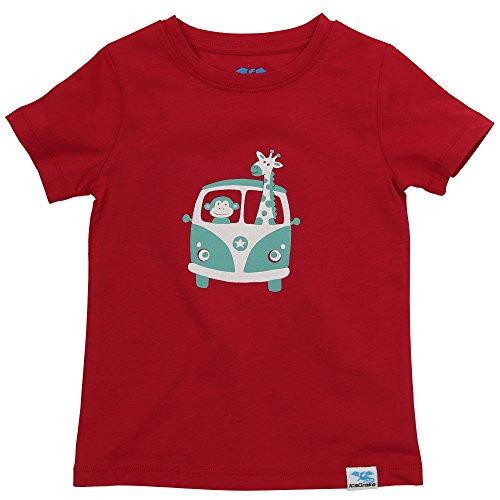 IceDrake Jungen Kurzarm T-Shirt mit Motiv Affe und Giraffe Rot 86/92