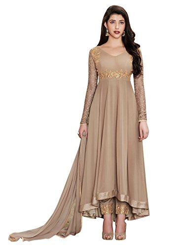 Ethnic Yard Designer Faux Georgette Party Wear Indian Style Semi-Stitched Beige Anarkali...