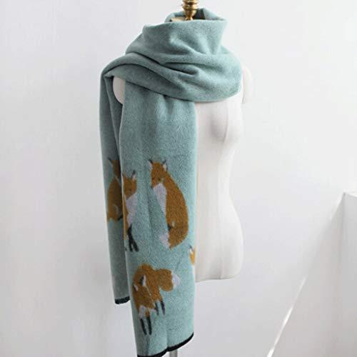 CCF Schal Imitation Wool Scals Doppelseitige Verdickung, um warme Mode zu halten V (Farbe : Grün)