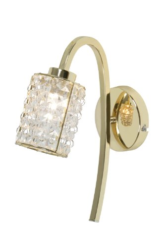 Oaks Lighting Entice 1 Light Wall Bracket in Gold Plated Finish with Crystal Drops -