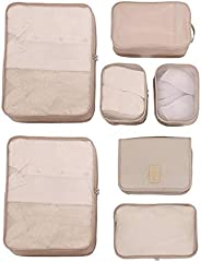 Beige Travel Packing Cubes 7 Set, Compression Travel Luggage Organizer-Luggage Organizers with Toiletry Kit Sh