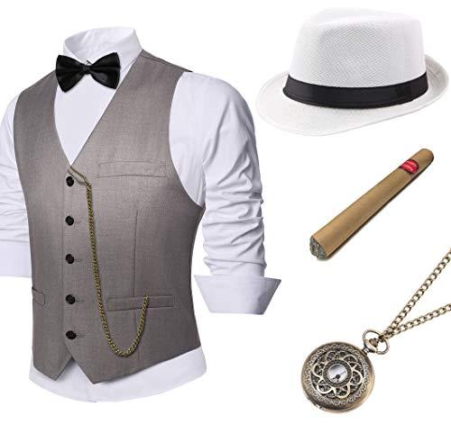 Coucoland 1920s Accessoires Herren Mafia Gatsby Kostüm Set inklusive Panama Gangster Hut Herren Weste Halsschleife Fliege Taschenuhr und Plastik Zigarre (Grau, L) (Mafia Kostüm Für Herren)