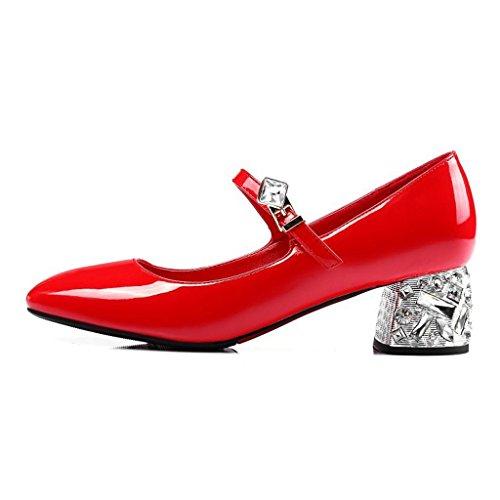 W&LMScarpe singole Testa rotonda Bocca poco profonda Scarpe basse Scarpe posto di lavoro Sala da ballo Red
