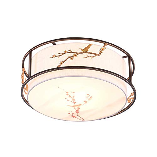 ZENWEN Decke Lampe Led antike Runde Eisen Raum i Lampe Hotel Schlafzimmer Schwarz Gold 500 * 500 *...