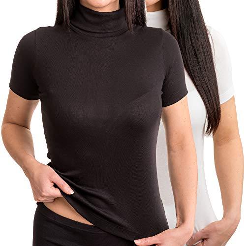 HERMKO 17855 2er Pack Damen Shirt mit Rollkragen, Größe:40/42 (M), Farbe:weiß/schwarz