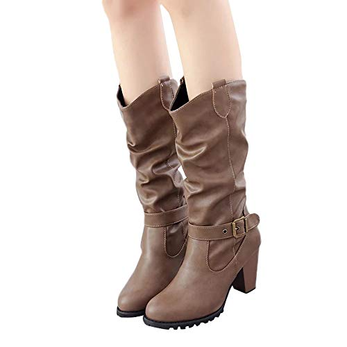 Vovotrade ♔ stivali casual con fibbia media da cintura, scarpe invernali da donna in pelle con tacco alto stivali spessi con zeppe impermeabili