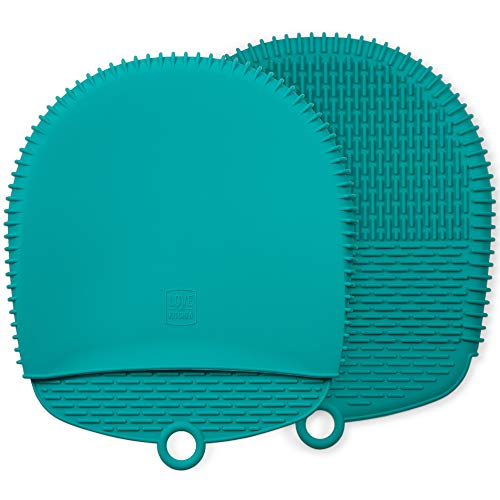 Premium Silikon Topflappen Handschuh/Koch Backofen Handschuhe. Dieses 100% Topflappen Set ist gesünder als Baumwolle und einfacher zu reinigen, wächst nicht Schimmel oder Bakterien (1 Paar, Türkis)