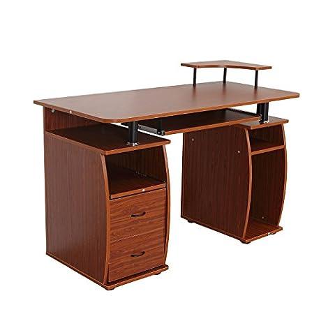 Bureau pour ordinateur table meuble PC informatique multimédia en MDF (noyer)
