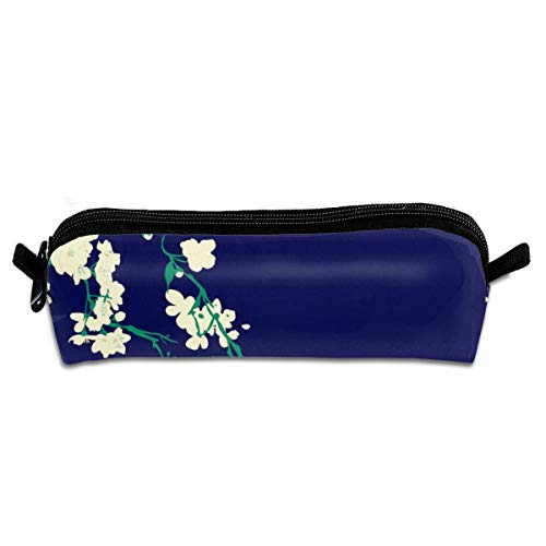 Cherry Blossoms Navy Emerald Pencil Pouch Bag Stationery Pen Case Makeup Box with Zipper Closure 21 X 5.5 X 5 cm Blossom Navy