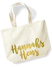 Personalised Name Hens - Large Canvas Fun Slogan Tote Bag