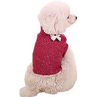 DELEY Pet Dog Princess Archi Jumper Sweater Dress Costume Cucciolo di Gatto Maglieria Cappotto Abbigliamento Vestiti Hot Pink S