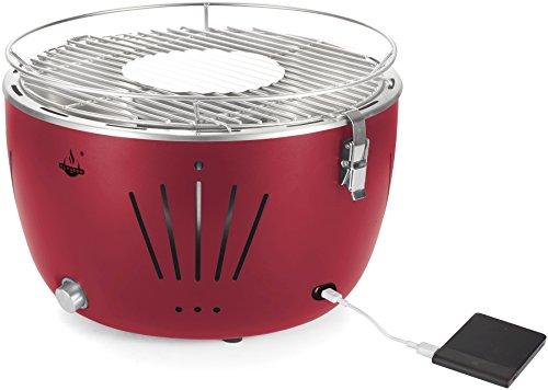El Fuego rauchfreier Holzkohlegrill, Tulsa, rot, 34,2 x 34,2 x 21,5 cm, AY5253 - 5