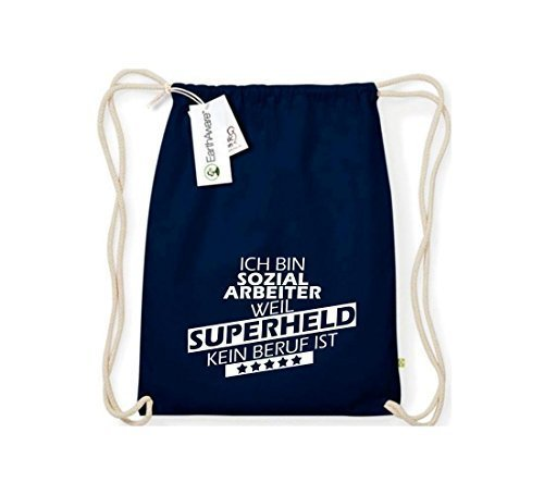 Shirtstown Organico Gymsac Sono Assistente sociale, perché Super eroe niente Occupazione è - rosso, One Size blu