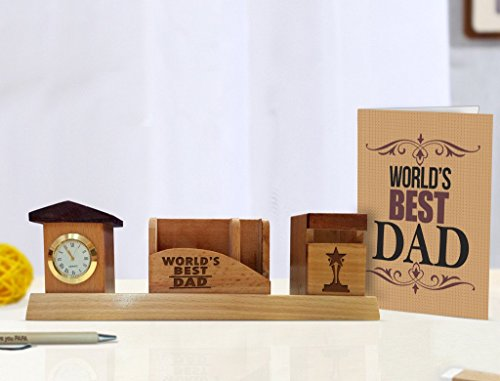 Father's day Gift | Gift for Him | Gift for Father on his Birthdays Pen Stand with Greeting Card By TIED RIBBONS