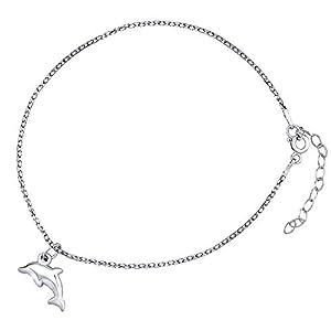 Damen Fußkettchen aus 925 Sterling Silber Delphin