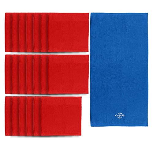 Microfaser Tücher multifunktional | (21-teilig) CABURIclean Set. Nr. 13 | 20 x Multituch rot (30 x 30 cm) + 1 x Mikrofaser Allzweck blau (40 x 60 cm)