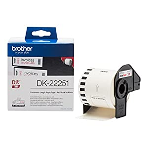 Brother DK-22251 Label Roll, Continuous Length Paper, Black and Red on White, 62 mm (W) x 15.24 m (L), Brother Genuine Supplies