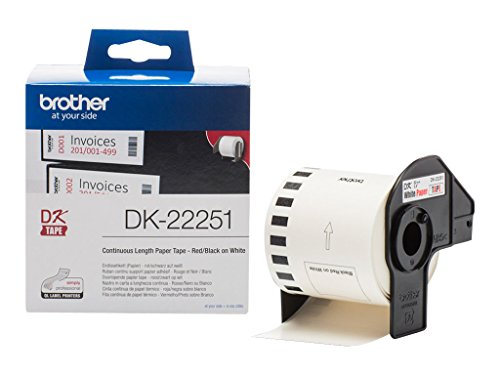 Brother DK22251 - Papel continuo de etiqueta, color negro y rojo y blanco