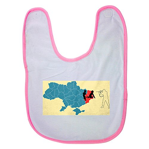 Pink baby bib with Ukrainian trident Tryzub anti-Putin