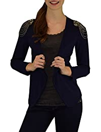 S&LU angesagter Damen Blazer mit Nieten- und Perlenapplikationen auf beiden Schultern Größe S bis L