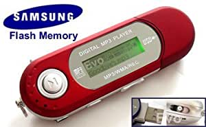 EvoDigitals 4GB Red MP3 WMA Player (samsung memory) USB With FM Tuner, Voice Recorder + More