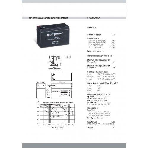 Preisvergleich Produktbild Premium Powery Bleiakku (multipower) MP8-12C zyklenfest, Lead-Acid, 12V