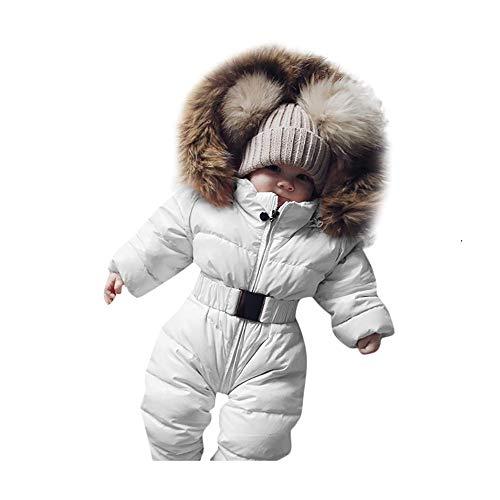 Covermason Baby Babykleidung Neugeborene Winter,Säuglingsbaby Junge Mädchen Spielanzug Strampler Jacke Mit Kapuze Overall Warm Dicker Mantel Coat Outfit (12-18M, Weiß)