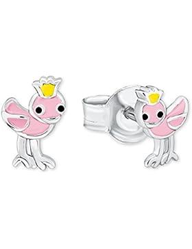 Prinzessin Lillifee Kinder-Ohrstecker Mädchen Vogel Tier emailliert 925 Sterling Silber rhodiniert Emaille