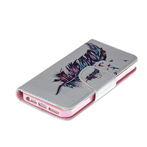 MOONCASE Étui pour Apple iPhone 5C Printing Series Coque en Cuir Portefeuille Housse de Protection à rabat Case Cover LD07 LD09 #0226