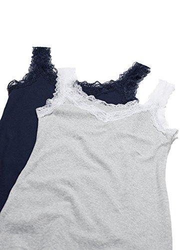 Iris & Lilly Damen Baumwoll-Unterhemd mit Spitze im 2er-Pack Mehrfarbig (Melange/navy)