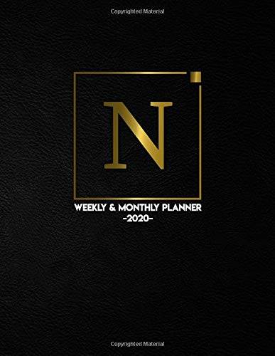 2020 Weekly & Monthly Planner: Initial Monogram Letter N | 2020 Daily Planner & Organizer | To-Do's, Holidays & Inspirational Quotes, Vision Board, ... Pages | Black, Gold & White for Girls & Women