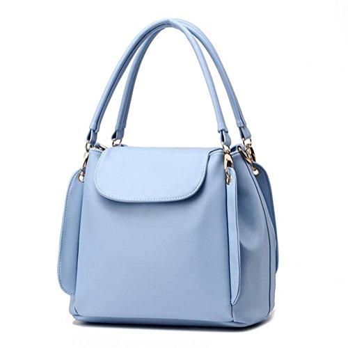 DcSpring Damen Handtasche PU Leder Groß Ledertasche Umhängetasche Schultertasche Tasche Shopper Elegante Mode (Hellblau)
