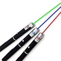 ‏‪3 Pack Green Red Blue Laser Pointer Rifle Scope Sight Laser Pen, Remote Laser Pointer Travel Outdoor Flashlight, LED Interactive Baton Funny Laser Pointer Toys for Cats/Dogs‬‏