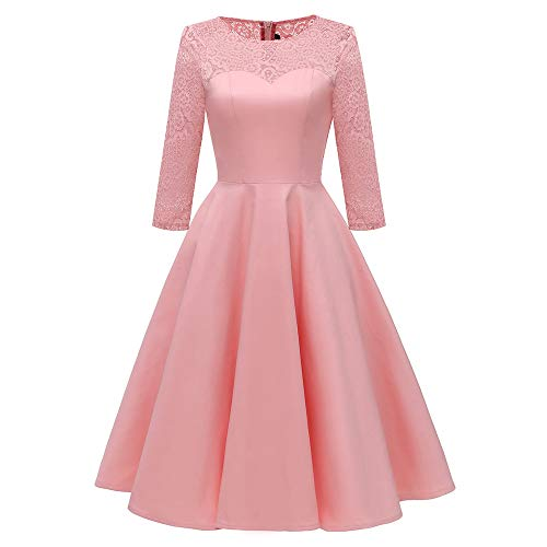 MIRRAY Damen Dreiviertel Solide Vintage Prinzessin Blumenspitze Cocktail O-Ausschnitt Party Aline...