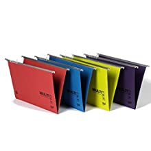 Rexel 92807 Multifile Plus Foolscap Suspension File, 150 Sheet Capacity, 15 mm V-Base Manilla, Pack of 10, Multi-Coloured