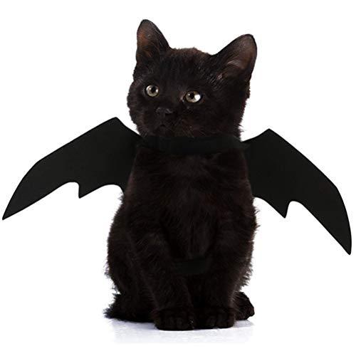POPETPOP Alas de Murciélago de Moda para Mascotas, Disfraz de Murciélago de Halloween para Gatos, Cosplay de Murciélagos de Juguete para Gatos y Perros (Negro)