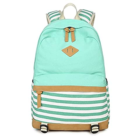 LABABE Canvas Sturdy Striped Stylish Casual Backpack School Bag Shoulder Daypack Lightweight Backpack Rucksack BookBag Daypack with Computer Compartment Fits up to 14inch -
