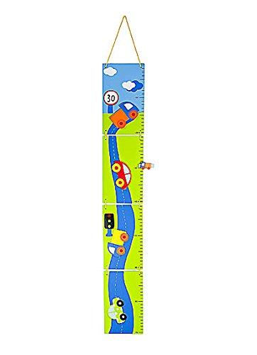 Metri da parete righello di altezza grafico di crescita in legno a tema auto azzurra per camera dei bambini