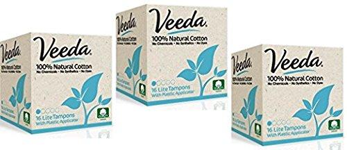 Veeda Tampons, natürlich, aus Baumwolle, Lite/Leicht, kompakt, 3 Packungen à 16 Stück