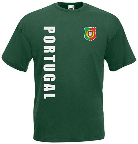 Portugal T-Shirt Trikot Wunschname Wunschnummer (Flaschengrün, XXL)
