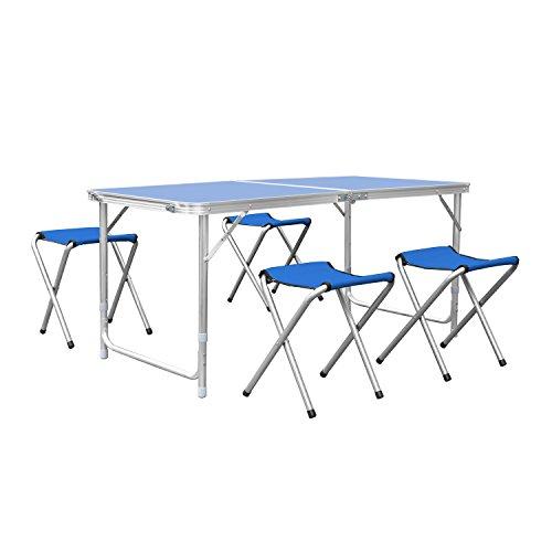 HOMFA 120cm Campingtisch Klapptisch Set mit 4 Klappstühle Aluminium. Höhenverstellbarer Klapptisch Campingmöbel als Gartentisch, Falttisch, Reisetisch, zum Camping uvm. (Blau, 120cm)