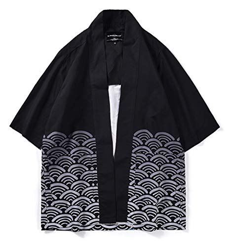 PIZOFF Unisex Kimono Samurai Mantel Strickjacke mit Japan Stil Sakura Dragon Druckmuster 25250006X07+M