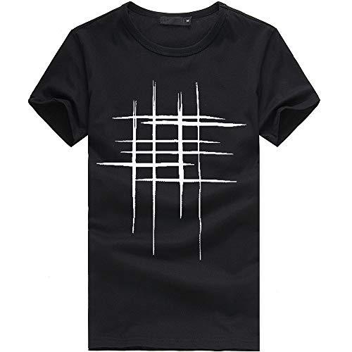 Herren Bluse feiXIANG O-Ausschnitt Langarm T-Shirt Kurzarm Bluse Männer Mode Drucken Casual Oberteile (Schwarz,XXXL)