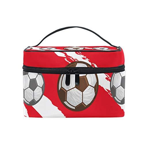 Kosmetiktasche mit Reißverschluss Kosmetiktasche Kupplung Fußball Fußball Single Layer Tragbare Reise Aufbewahrungstasche Tasche Platz für Frauen dame (Bulk Fußbälle Mini)