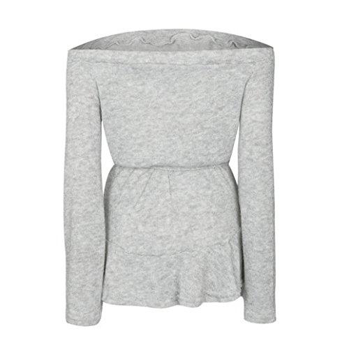 Hmeng Kleid, Frauen Loose Slash Neck Party Off Schulter Langarm Cocktail Minikleid Casual Grau