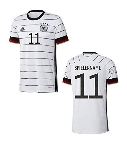 adidas DFB Deutschland Trikot Home EM 2020 Weiss mit Individualname und Individualnummer in Originalschrift (Weiss, XL)