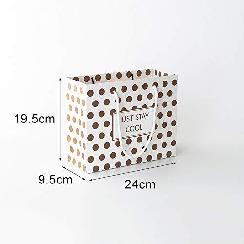 Chic-stilvolle reizende Punkt-Einkaufsgeschenk-Tasche mit Band-Griffen Verpackung (Größe : 19 * 5 * 9.5 * 14cm)