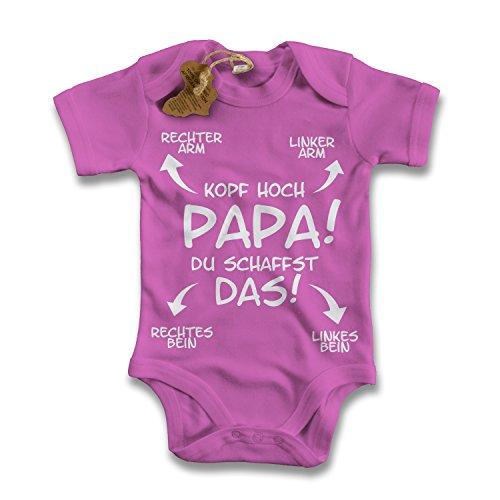 net-shirts Organic Baby Body mit Papa du schaffst das - Kopf hoch Aufdruck Spruch lustig Strampler Babybekleidung aus Bio-Baumwolle mit Zertifikat, Größe 0-3 Monate, pink