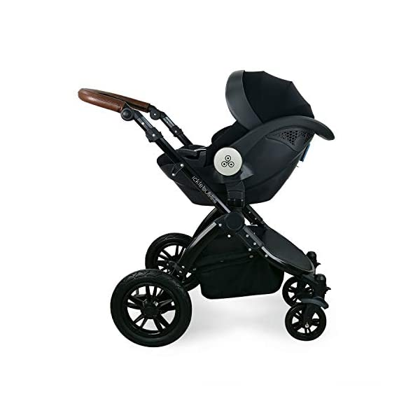Ickle Bubba Stroller Stomp V3 iSize All-in-One iSize Baby Travel System | Car Seat w/ Isofix Base, Rear and Forward-Facing Pushchair, Carrycot | Silver on Black Frame Ickle Bubba All-IN-ONE TRAVEL SYSTEM: This stylish and attractive two tone complementary design features carrycot, reversible pushchair, and Mercury i-Size car seat. Easy-click release allows for quick transitions between car and stroller. Includes an ISOFIX Base. LIGHTWEIGHT WITH PUNCTURE FREE FOAM TIRES: : 6.5kg chassis with foam wheels allows for a smooth ride, includes an easy press and release single step foot brake locking system FORWARD AND PARENT FACING TODDLER SEAT WITH ALL WEATHER PROTECTION: Multi-position recline allows your child to lie comfortable for naps or sit upright to take in the sights. Protect from rain or shine with a collapsible weather cover. 6