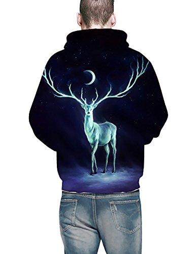 KamiraCoco Herren Pullover Slim Fit Kapuzenpullover 3D Druck Hoodie Weihnachten Langram Sweatshirt Kapuzenjacke Monat Hirsche